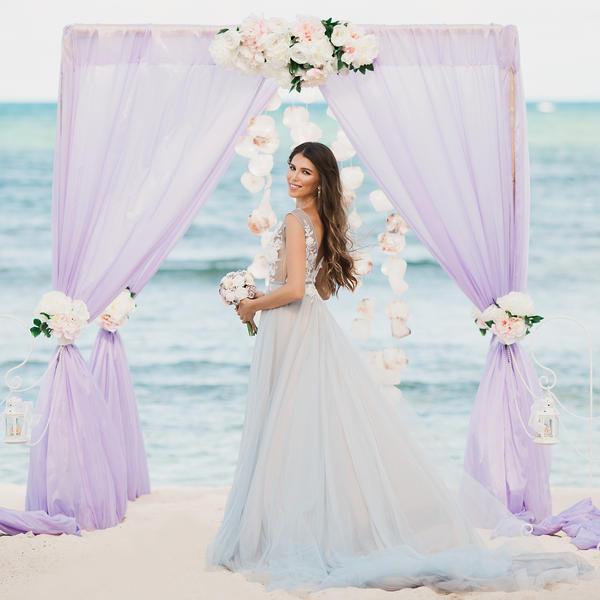 Лилово-пудровая свадьба в Доминикане Лилии и Алексея на пляже Cabeza de Toro – WedDesign – Свадьба в Доминикане