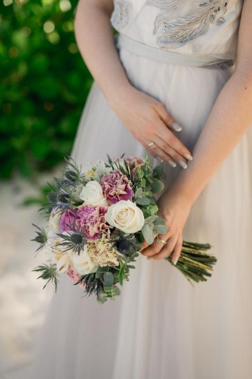 Сиреневый букет с эрингиумом – WedDesign – Свадьба в Доминикане