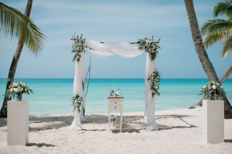 Живые цветы с голубым. Ветки– WedDesign – Свадьба в Доминикане
